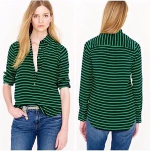J. Crew silk striped shirt green and navy blue